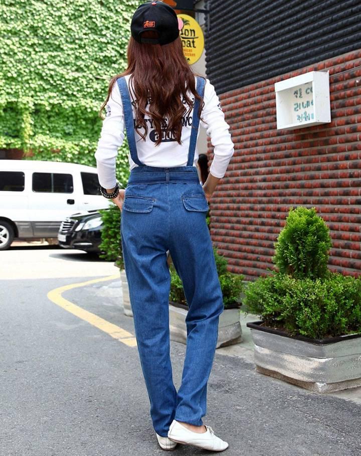 深蓝色(a)背带牛仔裤
