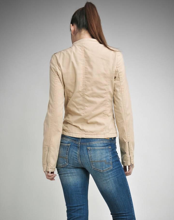 卡其色个性拉链长袖外套-唯品会手机版