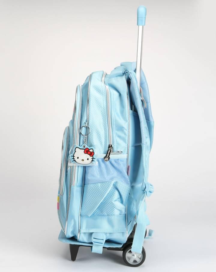hello kitty 女童浅蓝拉杆书包