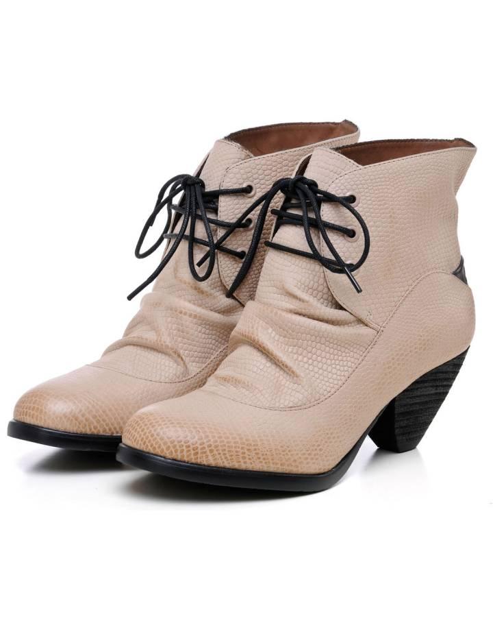 系列牛皮中跟矮靴