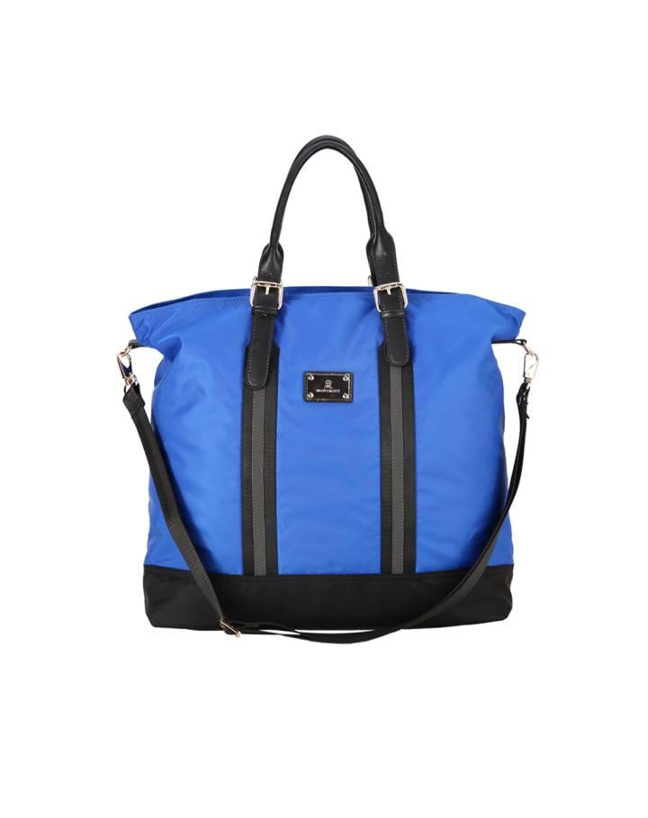 女款蓝色竖款方形手提包