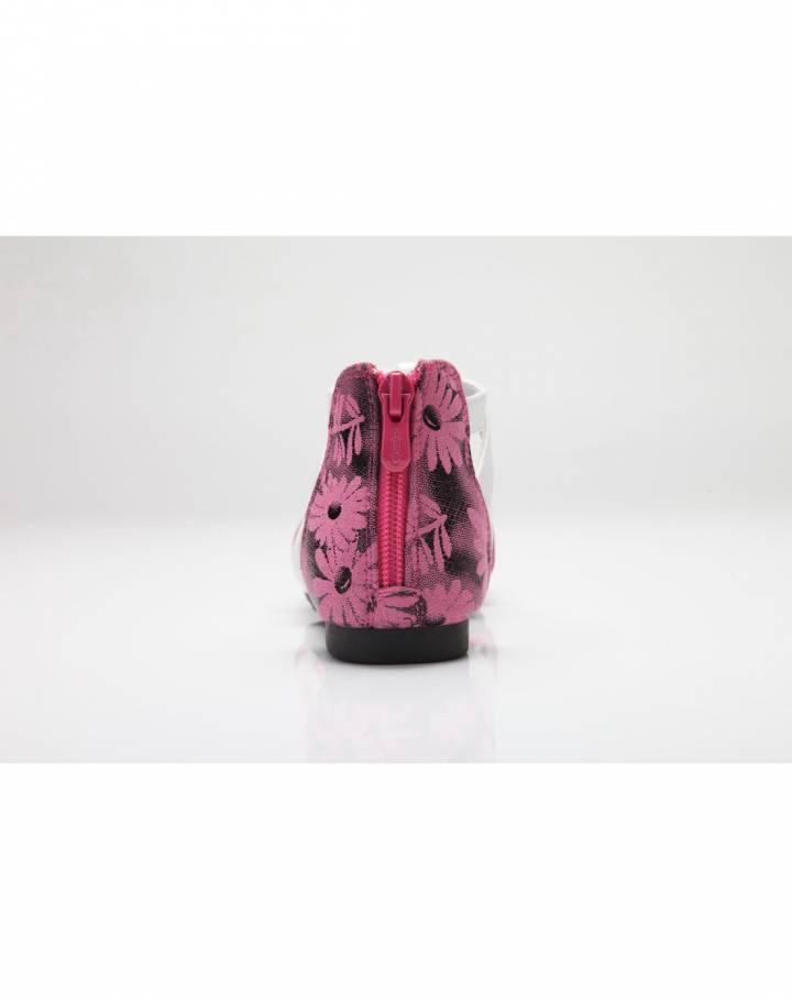 女小童桃红皮凉皮鞋