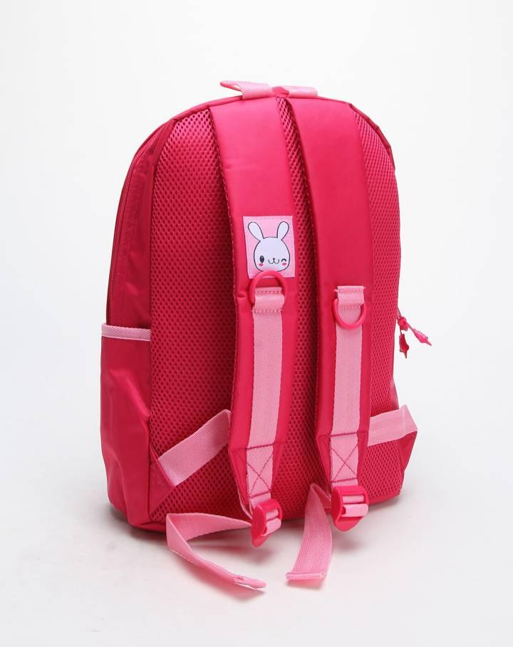玫红色微笑兔双肩背包