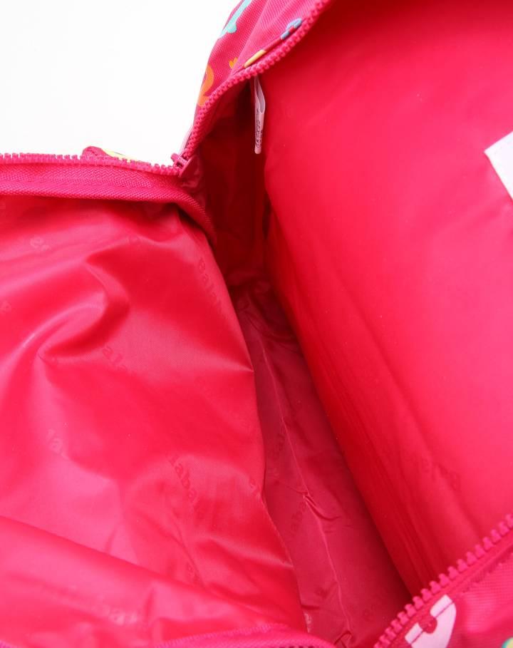 玫红色字母印花双肩背包