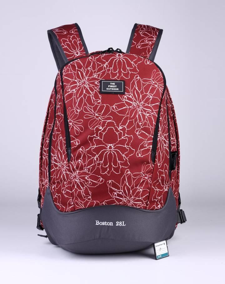 中性款枣红色时尚印花双肩背包