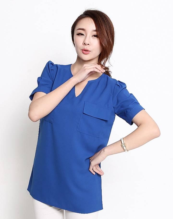 宝蓝色短袖纯色显瘦雪纺衫-唯品会手机版