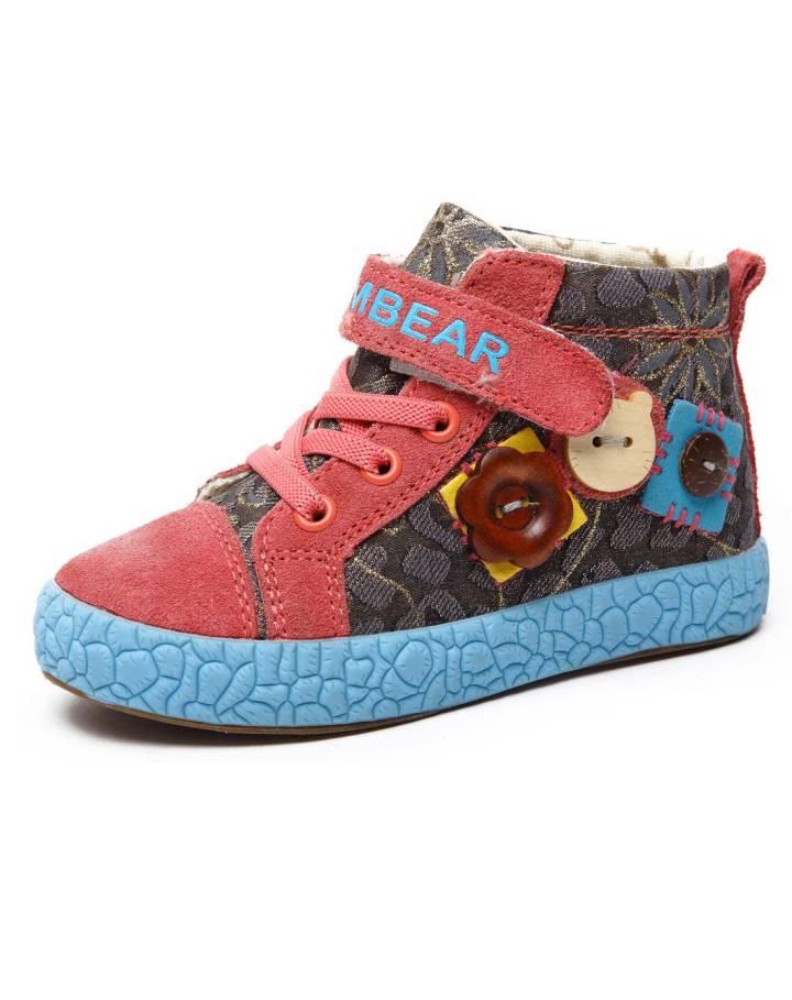 中性西瓜红帆布鞋