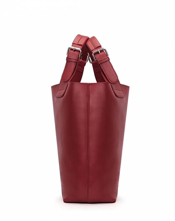 女款酒红色牛皮潘多拉复古大号手提斜挎包